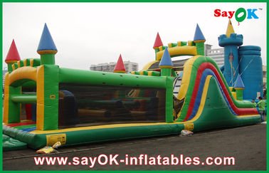 Castle Shape Inflatable Bouncer With Slide / Inflatable Combo For Park
